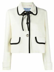 Prada piped trim cropped jacket - NEUTRALS