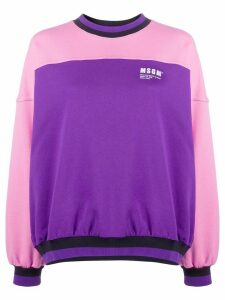 MSGM bi-colour crew neck sweatshirt - PURPLE