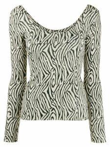 Nanushka zebra print scoop neck T-shirt - NEUTRALS