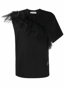 Brognano asymmetric ruffled detail T-shirt - Black