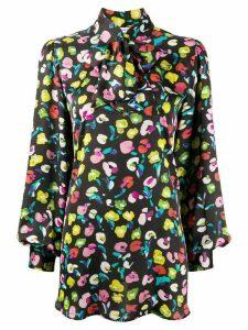 Amen pussy-bow floral-print blouse - Black