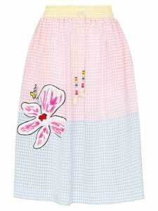 Mira Mikati gingham flower patch skirt - Blue