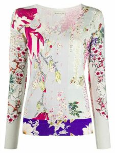 Etro V-neck floral print knitted top - NEUTRALS