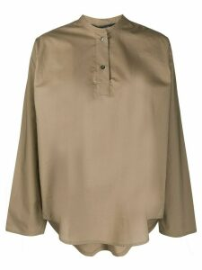 Sofie D'hoore band collar poplin shirt - Brown