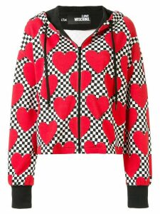 Love Moschino heart print drawstring hoodie - Red