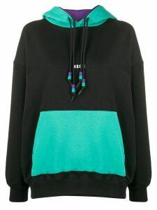 MSGM double-drawstring oversized hooded sweatshirt - Black