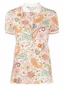 Etro short sleeve paisley-print polo shirt - White