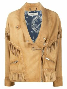 Golden Goose fringed v-neck jacket - NEUTRALS