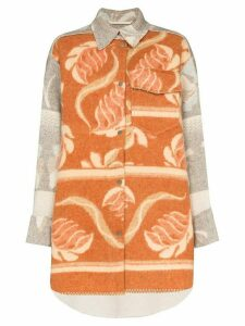 Rave Review Rakel oversized printed wool shirt - Brown
