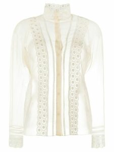 Chloé embroidered sheer blouse - NEUTRALS