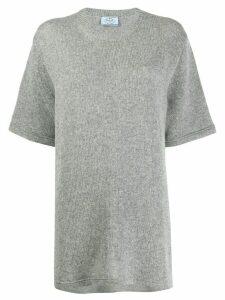 Prada cashmere oversized knitted T-shirt - Grey
