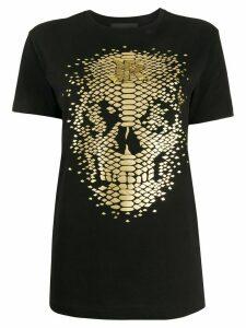 John Richmond foil skull print T-shirt - Black