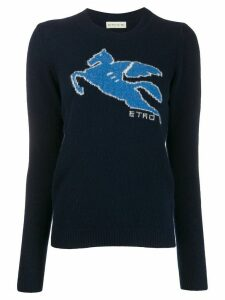 Etro long sleeve ribbed-knit logo jumper - Blue