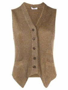 Brunello Cucinelli metallic sleeveless cardigan - Brown