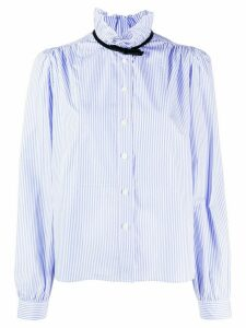Miu Miu bow frilled neck striped shirt - Blue