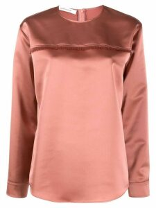 Cédric Charlier relaxed-fit fringed blouse - PINK