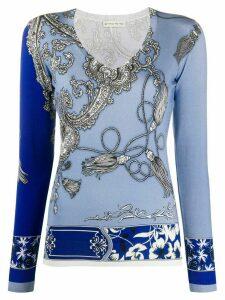 Etro V-neck paisley print top - Blue