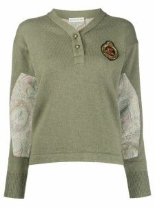 Etro long sleeve paisley-panel knit jumper - Green