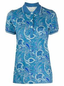Etro short sleeve floral-print polo shirt - Blue