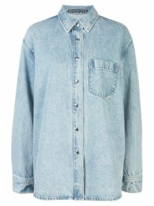 Alexander Wang oversized front pocket shirt - Blue