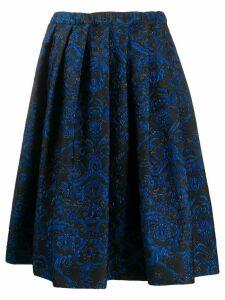 Comme Des Garçons pleated floral embroidered skirt - Blue