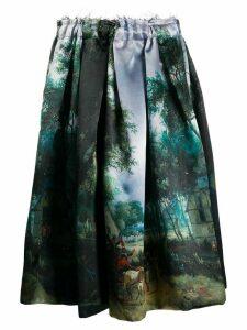 Comme Des Garçons graphic print midi skirt - Black