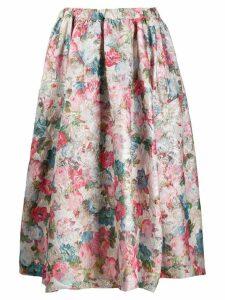 Comme Des Garçons pleated floral skirt - PINK