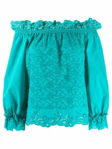 Ermanno Scervino broderie anglaise off-the-shoulder top - Blue