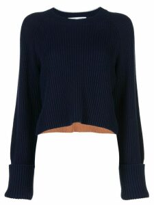 Proenza Schouler White Label stripe detail cropped jumper - Blue