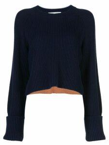 Proenza Schouler White Label stripe detail cropped jumper - Blue