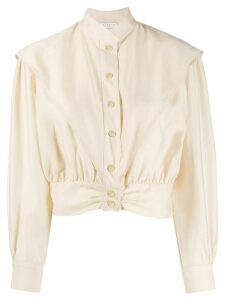Sandro Paris cropped mandarin collar shirt - NEUTRALS