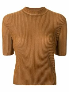 Mame Kurogouchi ribbed knit shortsleeved top - Brown