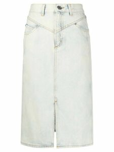 Sandro Paris snow wash denim midi skirt - Blue