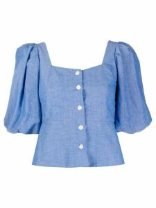 Sandro Paris puff-sleeve button front blouse - Blue