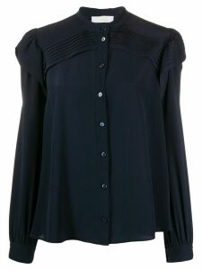 Chloé pleat detail silk blouse - Blue