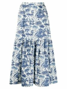 Staud embroidered flared midi skirt - Blue