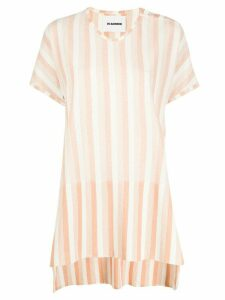 Jil Sander striped high low hem T-shirt - White
