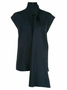 Tibi heavy tie neck top - Blue
