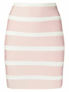 Hervé Léger two tone fitted skirt - PINK