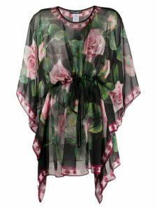 Dolce & Gabbana Tropical Rose drawstring hem blouse - Black
