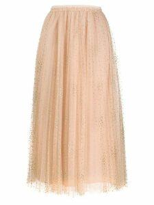 RedValentino glitter polka-dot pleated tulle skirt - NEUTRALS
