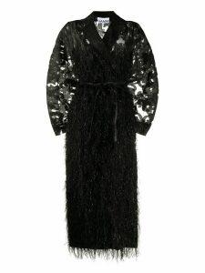 GANNI oversized feather embellished coat - Black