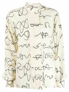 Victoria Beckham signature print silk blouse - NEUTRALS