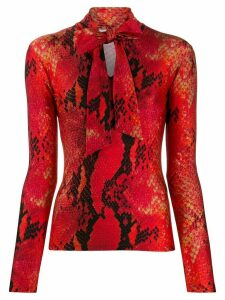 MSGM snake-print tie-neck top - Red