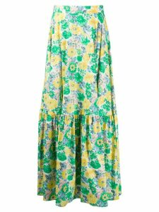 Plan C floral flared maxi skirt - Green