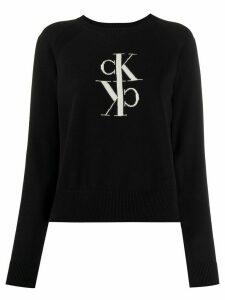 Calvin Klein Jeans logo knit crew neck jumper - Black