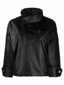 3.1 Phillip Lim Zip Leather Blouse - Black