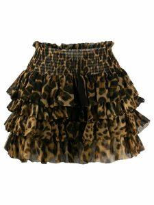 Saint Laurent leopard-print ruffled skirt - Brown