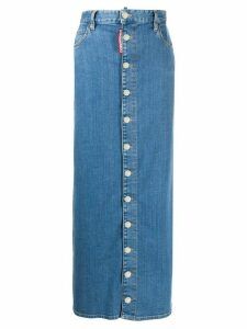 Dsquared2 high-rise button-down maxi denim skirt - Blue