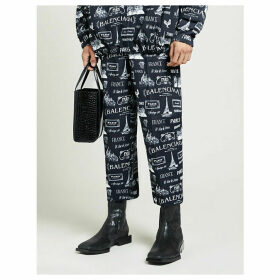 Brand-print tapered cotton trousers